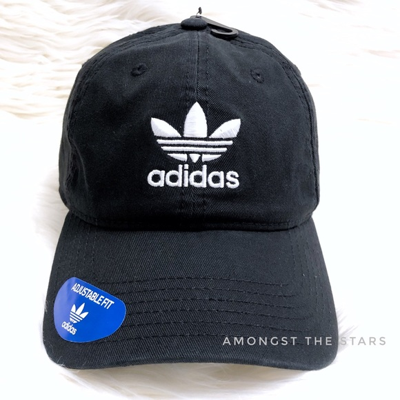 8091408905d Adidas Trefoil Black Relaxed Strapback Dad Hat Cap